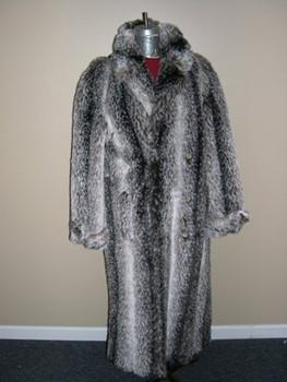 Men's Faux Badger Long Coat
