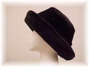 Black Faux Fur 'Pitcher' Hat