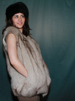 BLUE FOX FUR VEST DESIGN