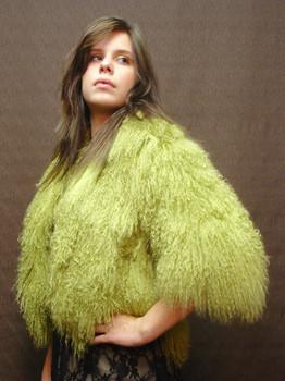 Green Curly Lamb Bolero Jacket
