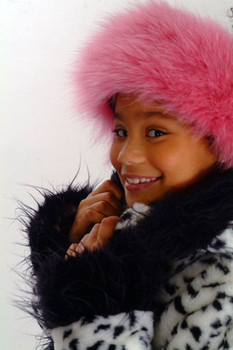 Kids Pink Fur Headband