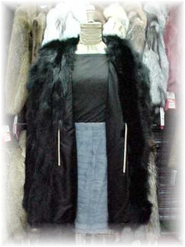 Black Fox Sectional Fur Jacket with Hood 1