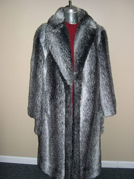 Natural Faux Coyote Long Coat