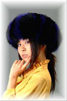 Dyed Black & Blue Fox Fur Headband