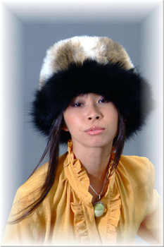 Faux Fur Hat with Black Fox Trim