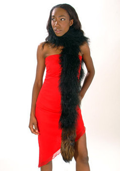 Black Fox Fur Curly Tail Boa
