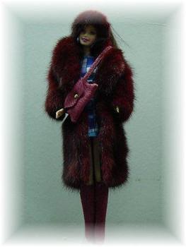 Doll's Pink Mink Fur Coat
