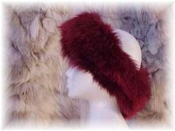 Dyed Burgundy Full Pelt Fox Fur Head Wrap