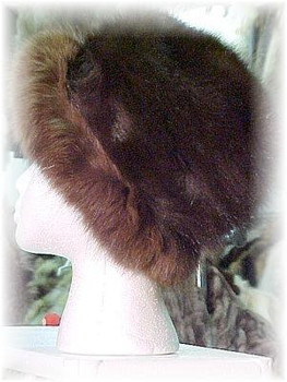 Brown Fox Fur Hat with Light Brown Fox Trim