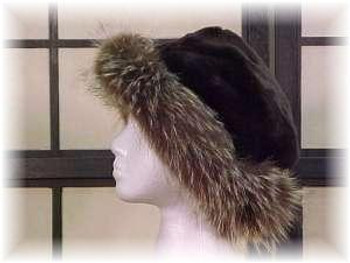 Black Faux Fur Hat with Full Skin Raccoon