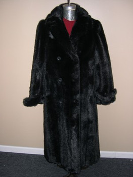Black Faux Mink Long Coat 1