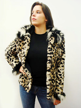 Black And White Print Fox Fur Jacket