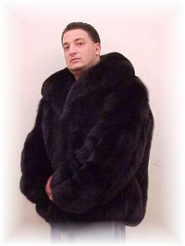 Full Skin Black Fox Bomber Fur Jacket
