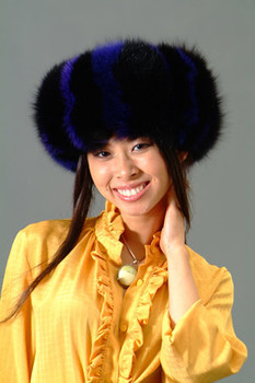 Dyed Blue & Black Fox Fur Headband