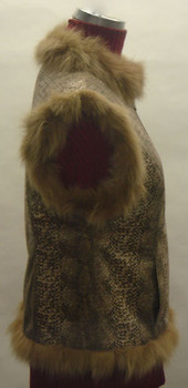 Brown Fox Vest with Faux Snake Design