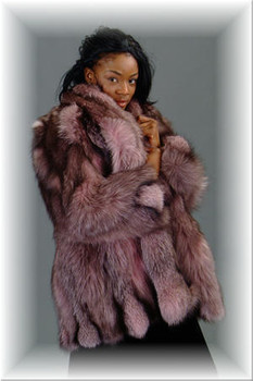 Dyed Burgundy Fox Fur 3/4 Jacket