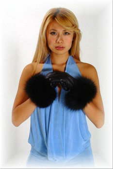 Fur Gloves Leather Fox Trim