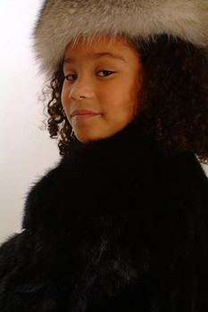 Kids Fox Fur Headwrap Indigo