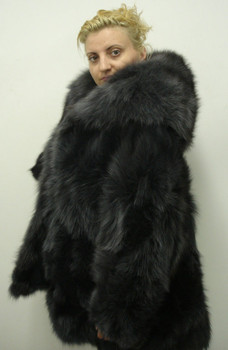 Gray Fox Fur Double Hood With Flair Bottom