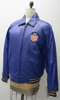 Leather Mens Blue USA B-Line Jacket