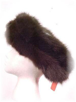 Brown Fox Fur Head Wrap - Full Skin