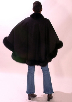 Black Fur Cape with Fox Fur Trim
