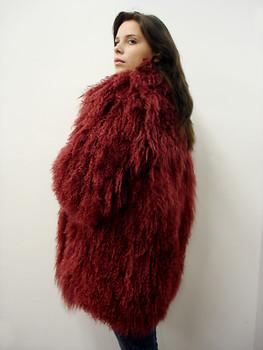 Burgundy Curly Fur Jacket