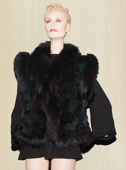 Black Mink With black Fox Trim Vest