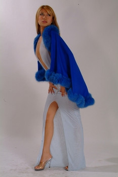 Blue Cape with Fox Fur Trim