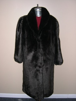 Dark Brown Faux Mink Long Coat