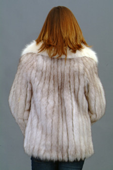 Vintage Fur Blue Fox Jacket With White Fox Tuxedo