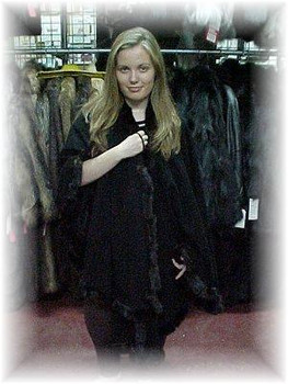 Black Cape with Full Skin Black Mink Fur Trim