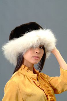 Black Faux Fur Hat with Natural Blue Fox Fur Trim