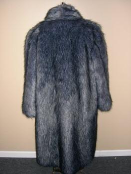 Faux Silver Fox Long Coat