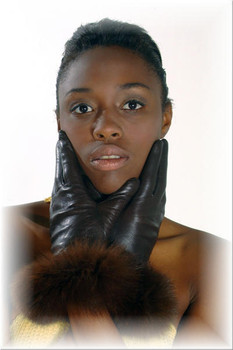 Fur Gloves Brown Leather