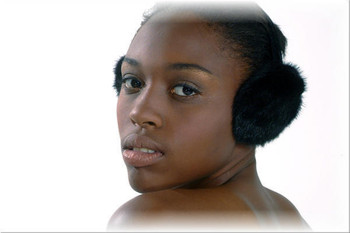 Black Mink Fur Earmuffs