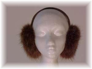 Brown Fox Fur Earmuff with Tan Vinyl