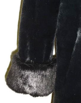 Black Faux Mink with Cuffs and Collar