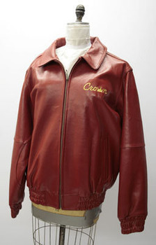 Leather Mens Red Crown Jacket