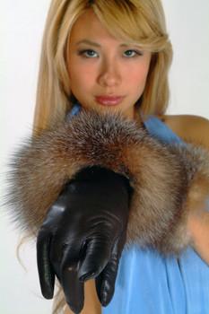 Fur Gloves Fox Trim Crystal Fox
