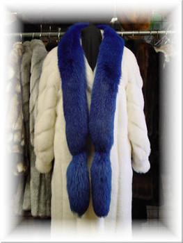 Dyed Dark Blue Full Skin Fox Fur Scarf 1