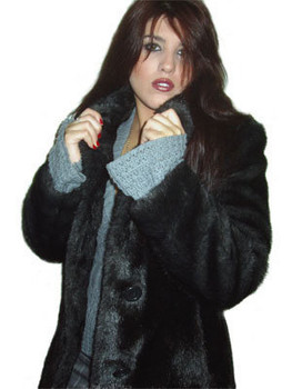 Black Ranch Mink Faux Fur 3/4 Ladies Jacket