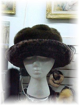 Brown Faux Pitcher Hat with Leopard Print Trim
