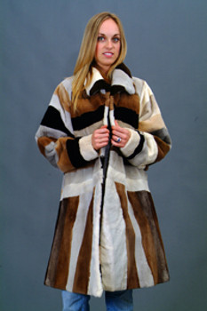 Vintage Fur Mink Multicolor Design Jacket