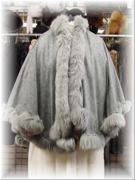 Beige Cape with Fox Tail Fur Trim