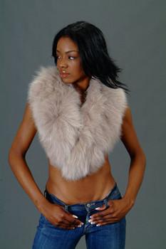Beige Fox Fur Collar