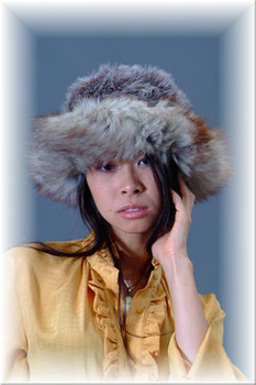 Gray Faux Fur Hat with Fox Trim