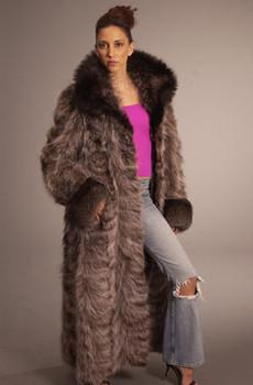 Sectional Raccoon Design Fur Coat