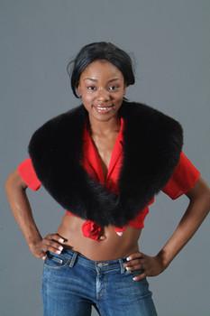 Black Fox Fur Shawl Collar