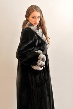 Black Lama Mink Fur Coat